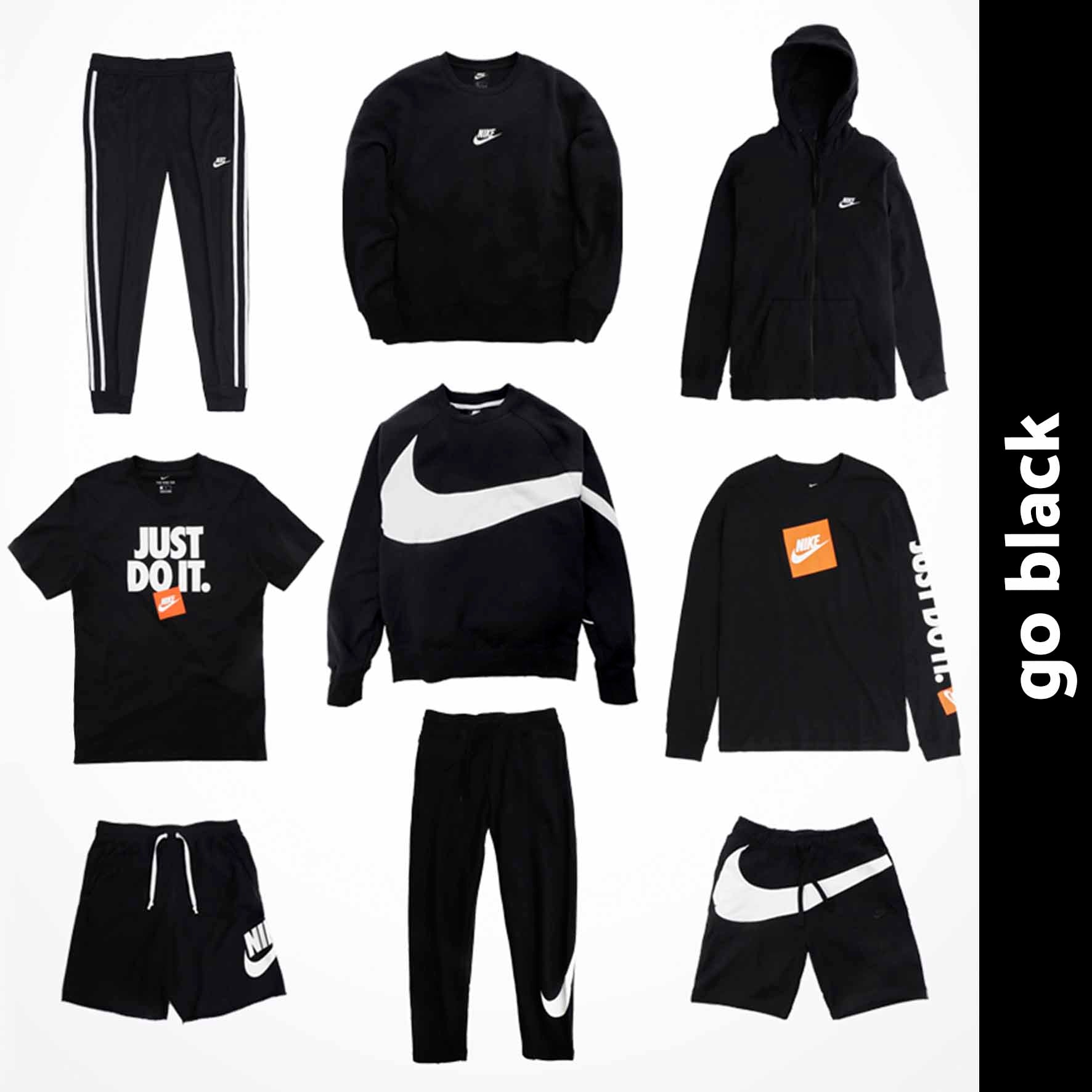 clothing black with oversized swoosh