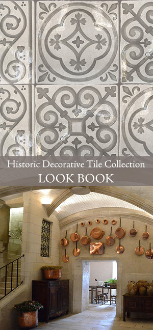 Historic decorative patterned wall tiles for kitchen back splash, bathroom walls, powder room, fireplace surround that interior designers choose for farmhouse, luxury, and old world interiors