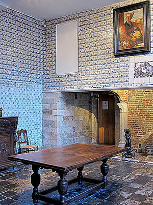 antique delft tile and antique Belgian bluestone flooring