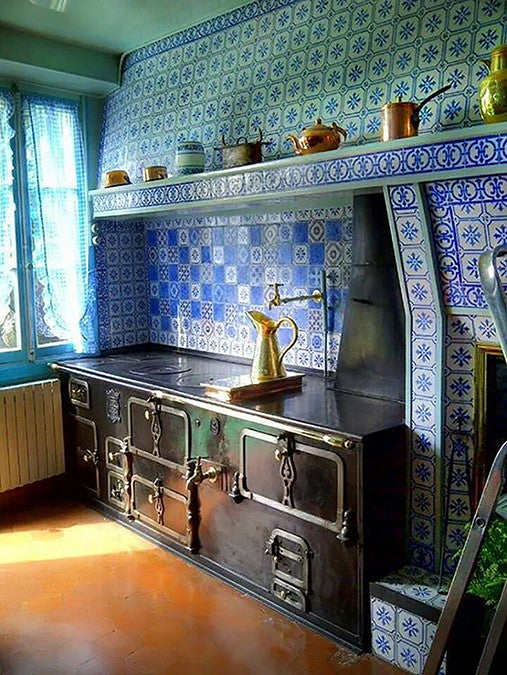 Design Trends and Claude Monet's Blue and White Kitchen Tiles