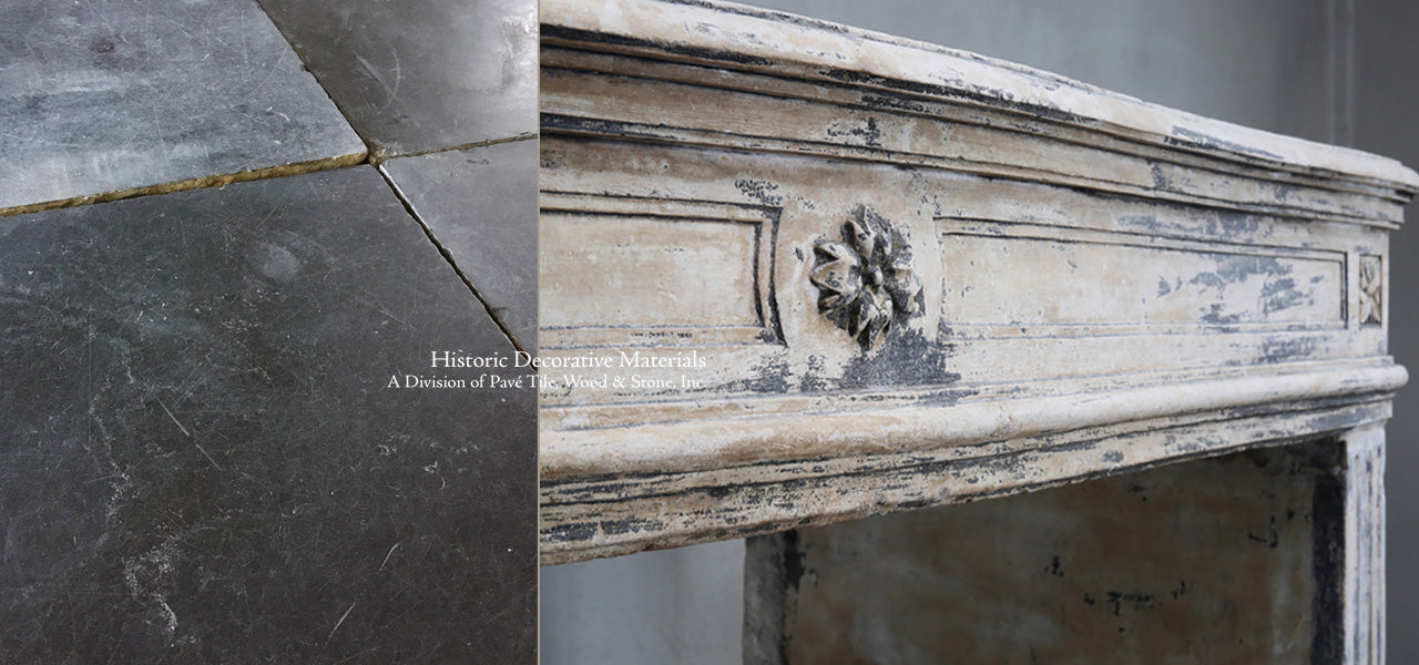 Antique French Limestone Fireplace Mantles and Reclaimed Belgian Bluestone Flooring