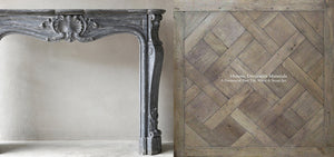 French Reclaimed Parquet de Versailles Panels and Antique French Fireplace Mantels