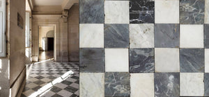 Reclaimed Antique Black and White Checkered Marble Stone Flooring Bianco Carrara Nero Black Marble that marries with reclaimed French oak floors, antique Belgian bluestone, zellige tiles, antique Delft tiles, French reclaimed terra cotta tiles for kitchen