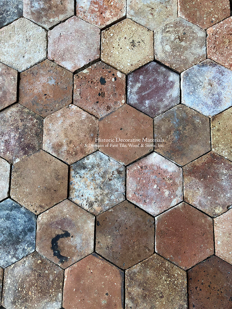 French reclaimed terra cotta tile hexagon