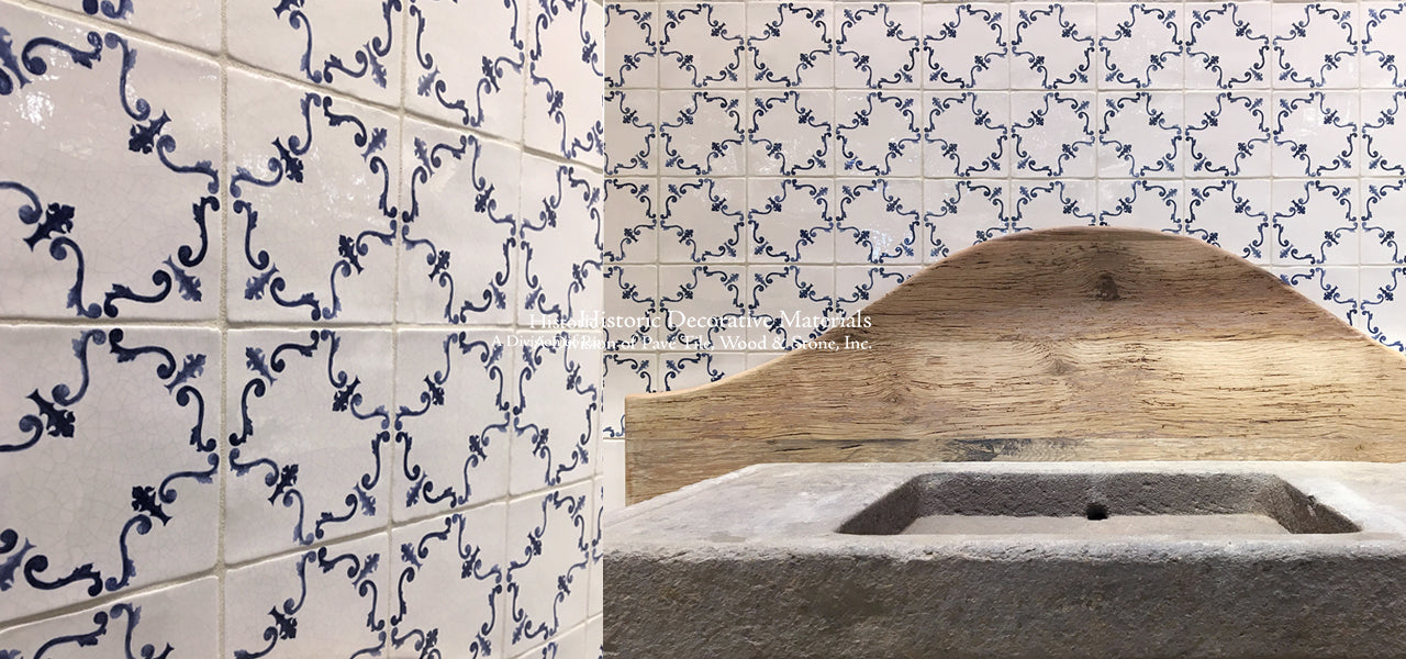 On the Road to Florence Italian Blue and White Decorative Wall Tile with a reclaimed wood and antique Italian vanity sink