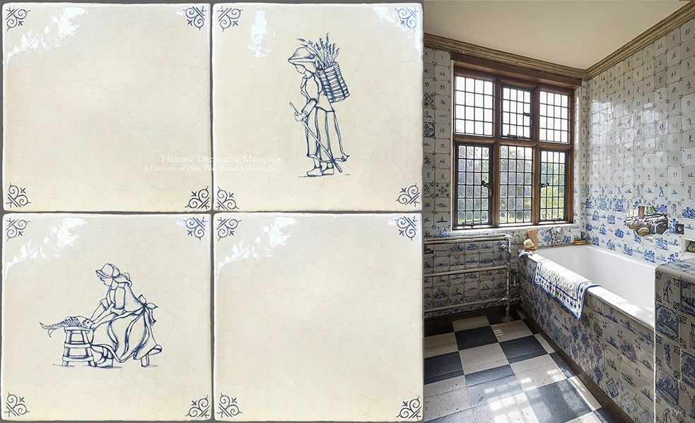 Delft Tiles and Antique Delft Tiles are famous blue and white Delft Tiles that are hand painted with a Dutch blue glaze used to decorate kitchen  backsplash, fireplace surrounds and bathrooms  with Delft Tiles and Antique Delft tiles and Decorative Blue and White Delft Tiles and Dutch Tiles