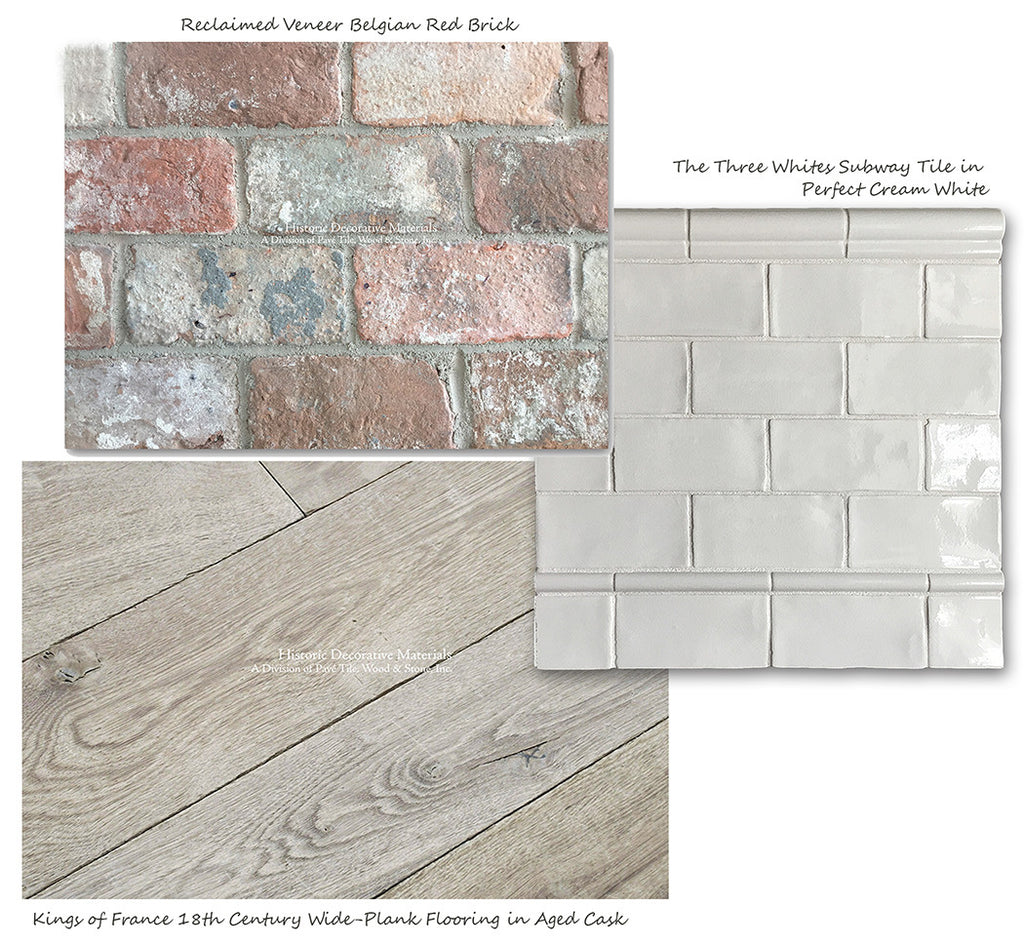 Reclaimed Veneer Belgian Brick with Aged French Oak Floors and Subway Tile