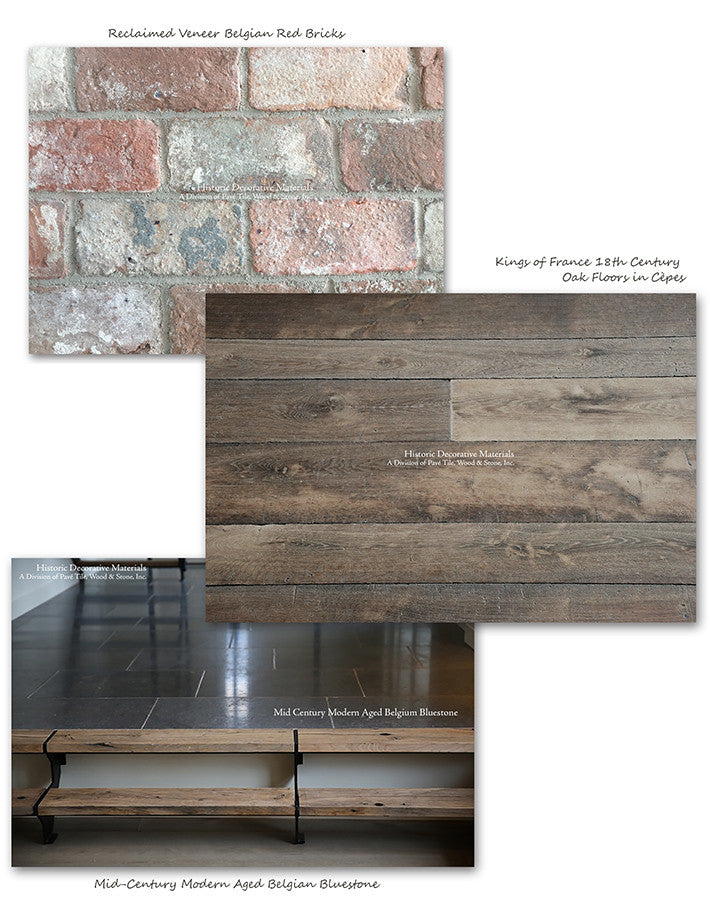 reclaimed veneer belgian bricks with belgian bluestone and french oak flooring