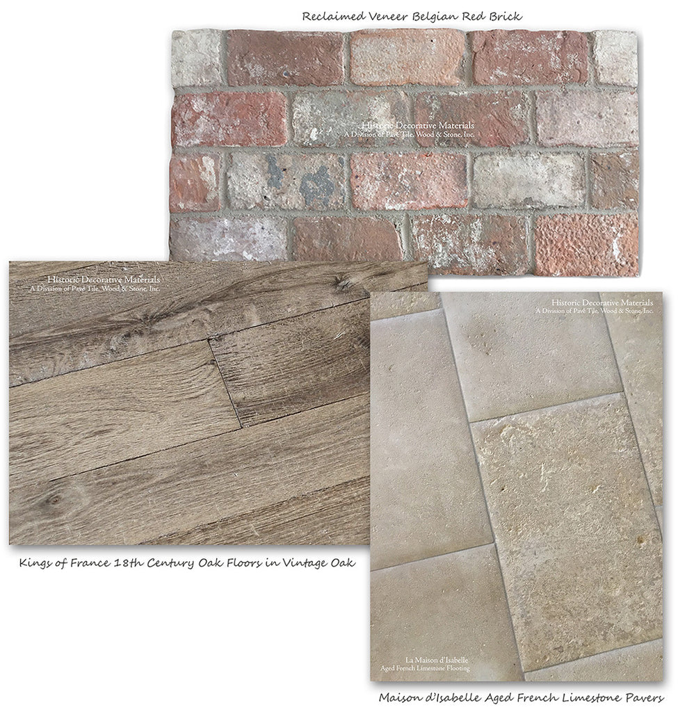 Reclaimed Veneer Belgian Brick with Aged French Limestone Flooring and Aged French Oak Flooring