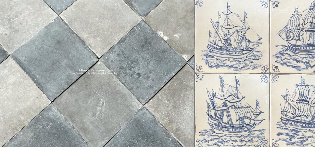 Antique Italian cement tile in a checkerboard pattern of blue and white marries with antique Delft tile ships for historic interiors.  Antique delft tiles and antique cement tiles are historic materials like antique Belgian bluestone floors, antique French limestone flooring. French reclaimed oak floors, French reclaimed terra cotta tiles, antique French limestone fireplace mantels and Zellige tiles