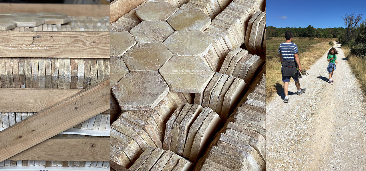 French reclaimed terra cotta tile hexagons are hand made French terra cotta tiles that marry with Zellige or Zellige tiles from Morocco, decorative wall tiles, Delft tiles, reclaimed Belgian bluestone, antique French limestone flooring, antique cement tiles, French oak flooring and antique French fireplace mantels.