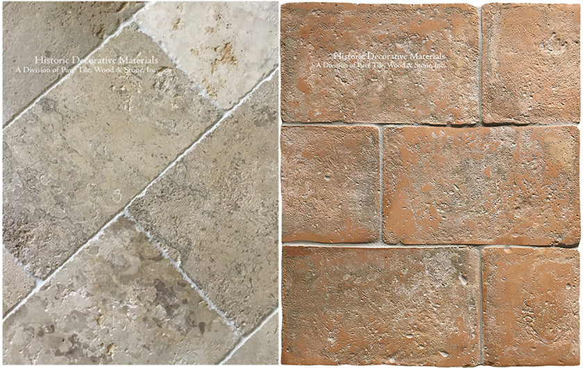 Aged French Limestone and Italian terra cotta tiles