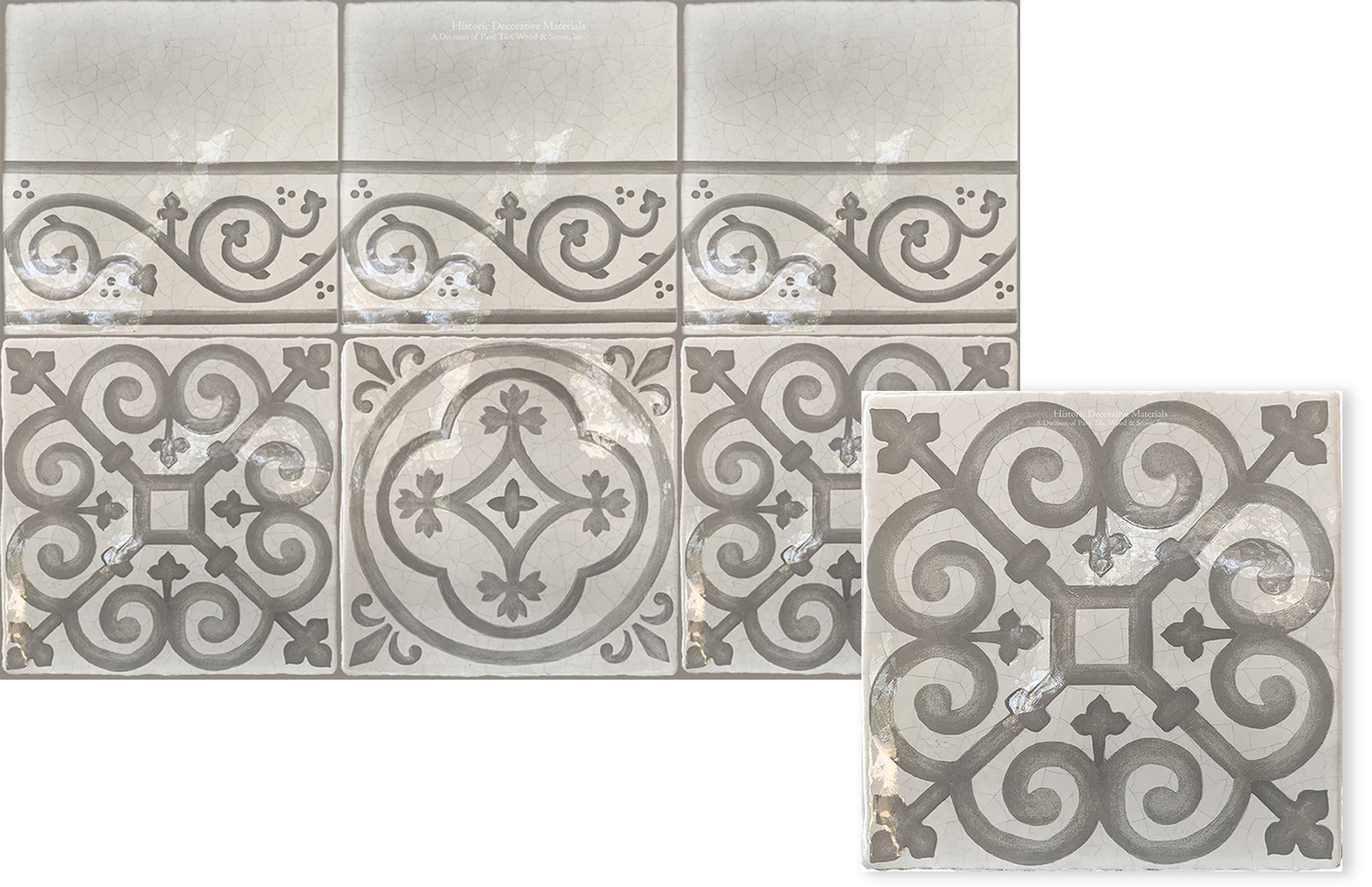 Historic Decorative hand painted wall tiles that are pattern wall tiles for kitchen backsplash, bathroom wall tiles, fireplace surround tiles that interior designers use for luxury, old world and farmhouse interiors