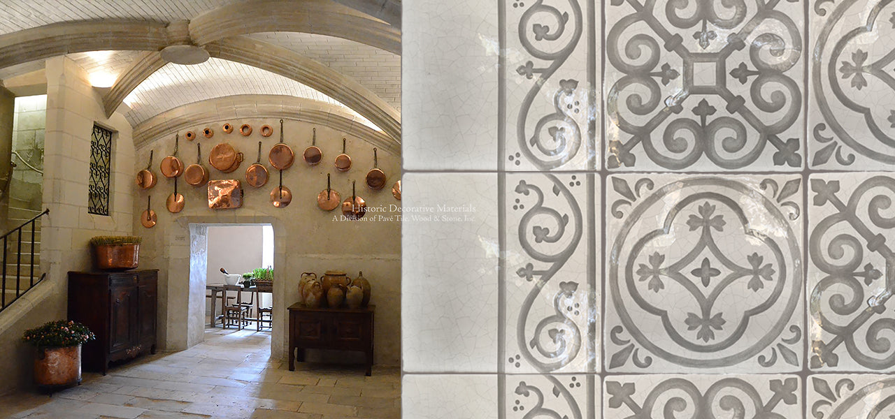 Carriage House English Encaustic Decorative Wall Tiles for Kitchen Backsplash, Fireplace Surround, Powder Room for luxury and farmhouse interior design