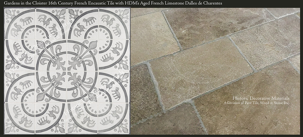 Aged French Limestone Tiles with Decorative Wall Tiles for Kitchen Backsplash