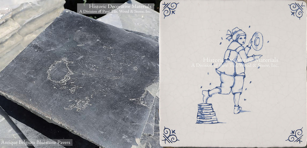 Delft Tile and Antique Belgian Blue Stone Flooring