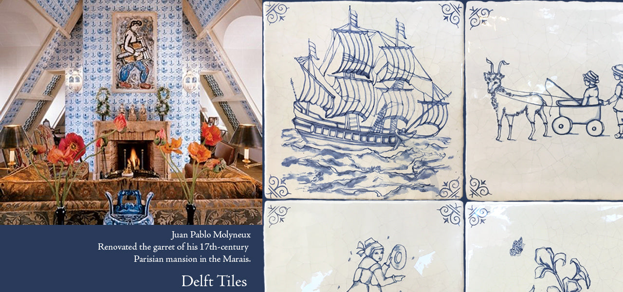 Antiqued Dutch Blue Delft Tiles for Delft Kitchens, Delft Bathrooms, Delft Fireplace Surrounds
