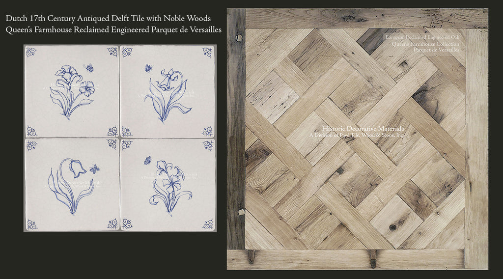 Reclaimed Parquet Oak Flooring and Vintage Dutch Blue Delft Tiles