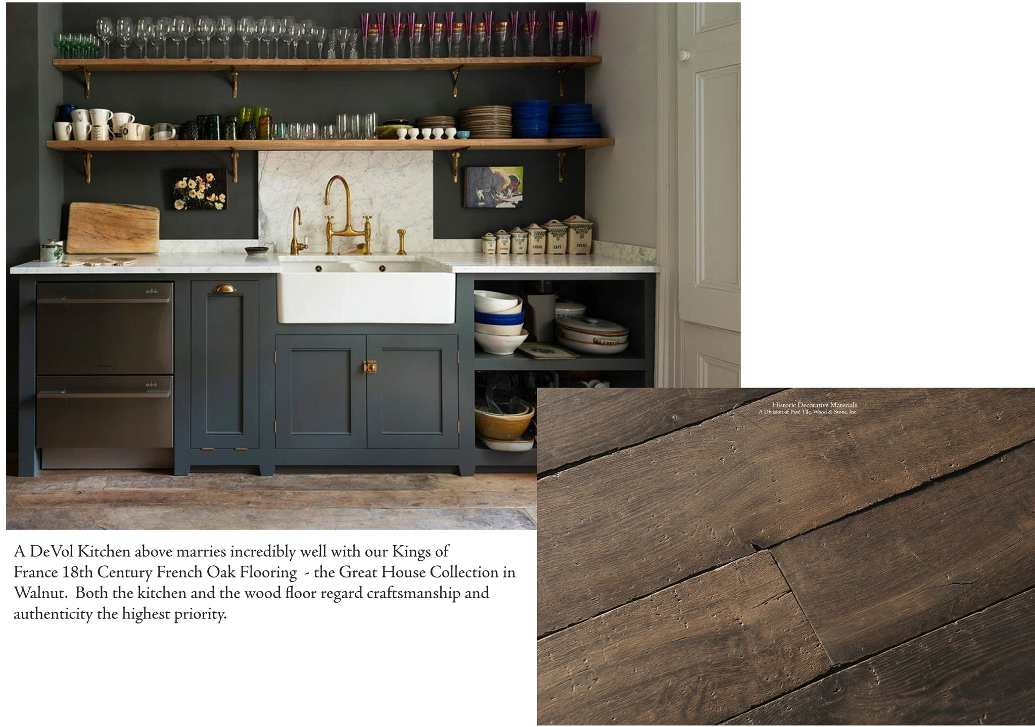 The Classic English Kitchen and the Shaker Style Kitchens like those of DeVol Kitchens and Plain English Kitchens marries so well with the Kings of France 18th Century French Oak Flooring