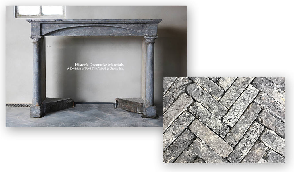 Antique French Fireplace and Reclaimed Belgian Bricks