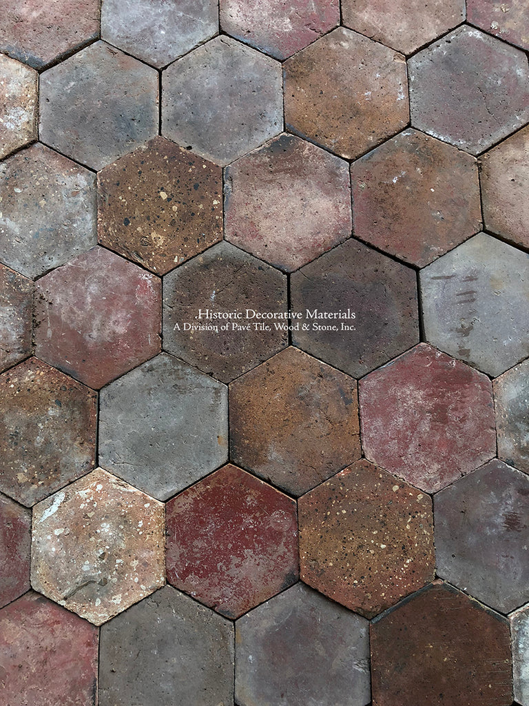 French reclaimed hexagon terra cotta tiles