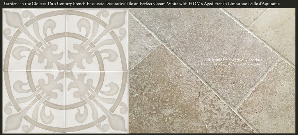 Aged French Limestone Tiles with Vintage Decorative Wall Tile for Kitchen Backspalsh