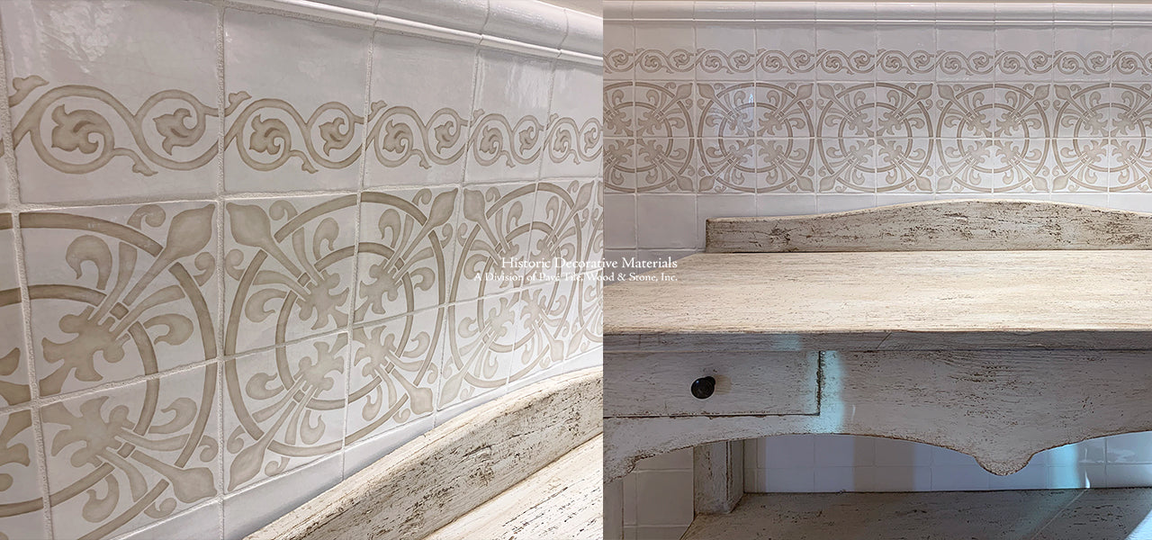 Historic decorative hand painted wall tiles for kitchen backsplash, fireplace surround, bathroom wall tiles that interior designers choose for farmhouse, luxury and old world interiors