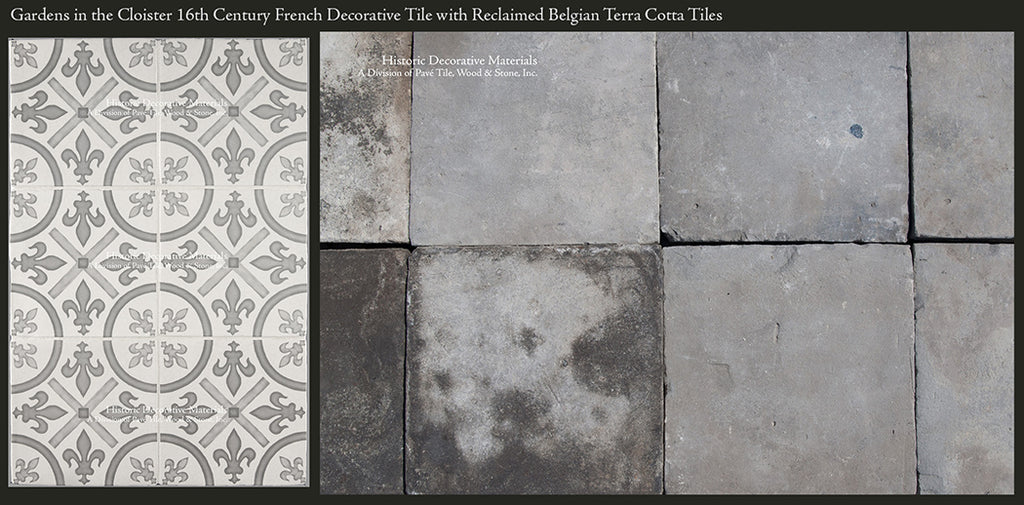 Grey Decorative Wall Tiles for Kitchen Backsplash with Belgian Grey Reclaimed Terra Cotta tiles