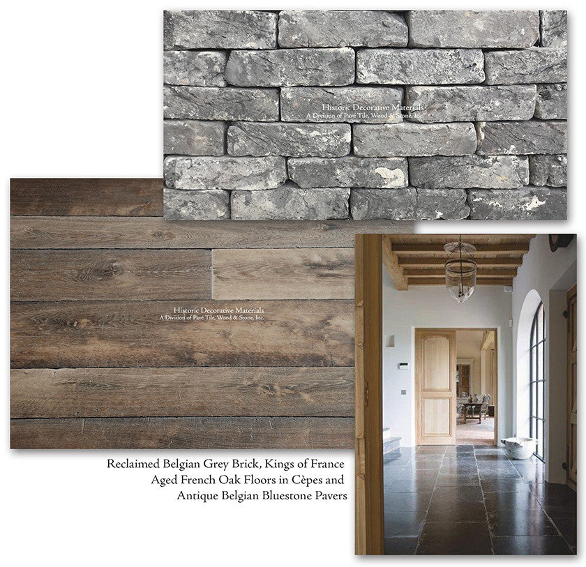 Aged French Oak Flooring with Reclaimed Belgian Grey Bricks