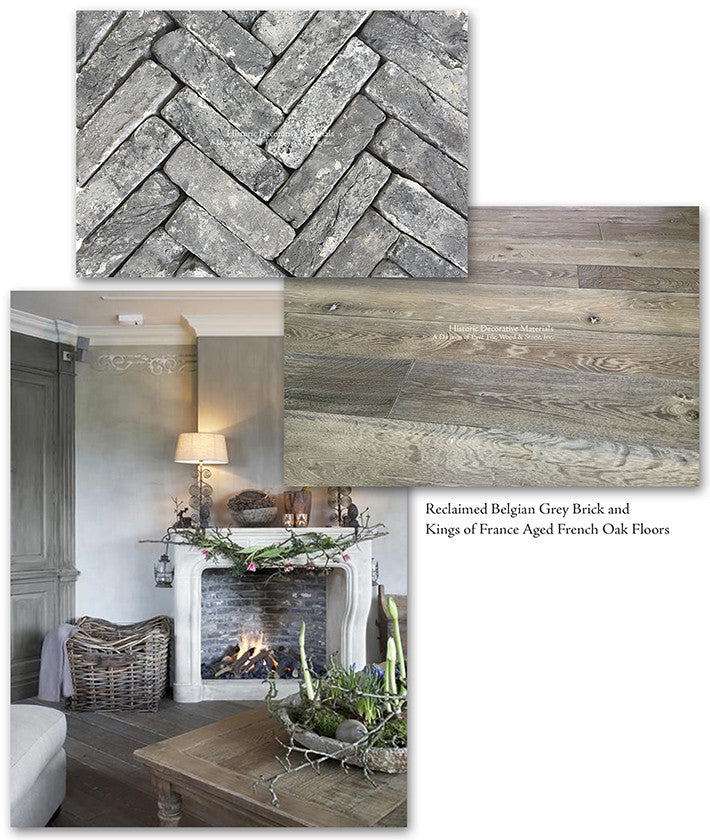 Reclaimed Belgian Brick Tile and Aged French Oak Floors