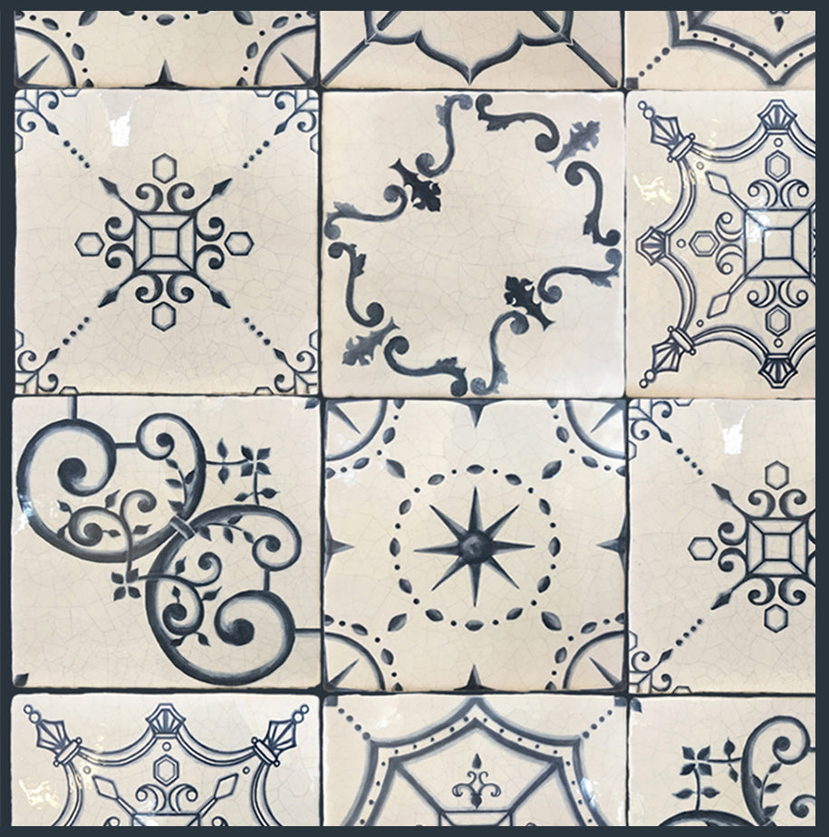 Historic Decorative Hand Painted Blue and White Wall Tile that is for old world, luxury and farmhouse interiors for kitchen backsplash, fireplace surround and bathroom walls.