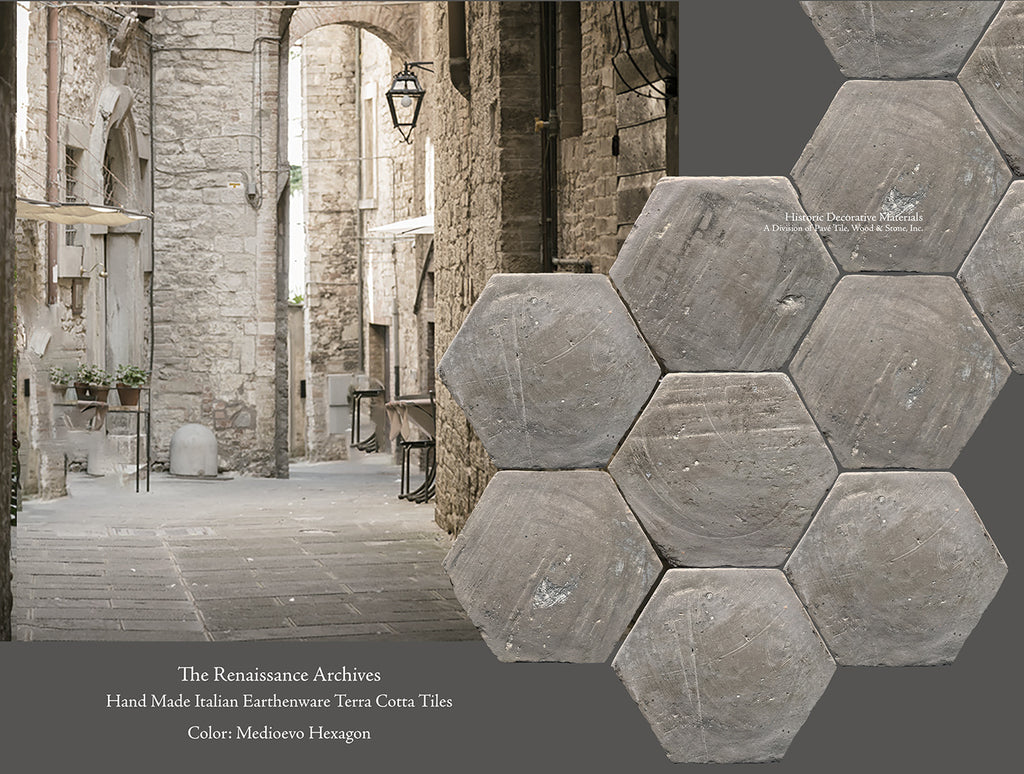The Renaissance Archives, An Earthenware Terra Cotta Tile Collection - Medioevo Hexagon