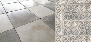 Italian Reclaimed Warm White + Steel Gray Cement Tile marries with decorative wall tiles for kitchen backsplash and antique reclaimed Belgian bluestone flooring, antique and aged French limestone flooring, reclaimed French oak flooring, antique Delft tile
