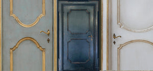 Hand Painted Pre Hung Custom Wood Doors marry with French reclaimed oak flooring, French reclaimed limestone floors, reclaimed cement tiles, reclaimed Italian limestone tiles, antique Belgian bluestone tiles, delft tiles, decorative wall tile, subway tile