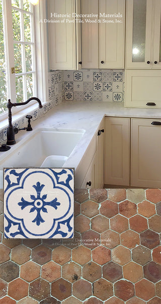 French Reclaimed Terra Cotta Tiles with Vintage Decorative Wall Tiles for Kitchen Backsplash