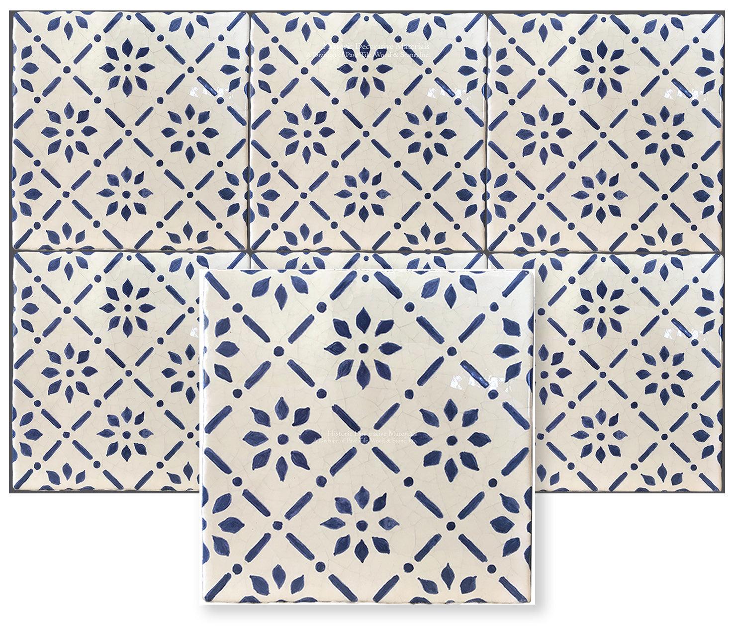 Blue and White Hand painted decorative wall tile like the Monet tiles found in Giverny, France are for kitchen backsplash, fireplace surround and bathroom walls that interior designers choose for traditional and historic interior design styles