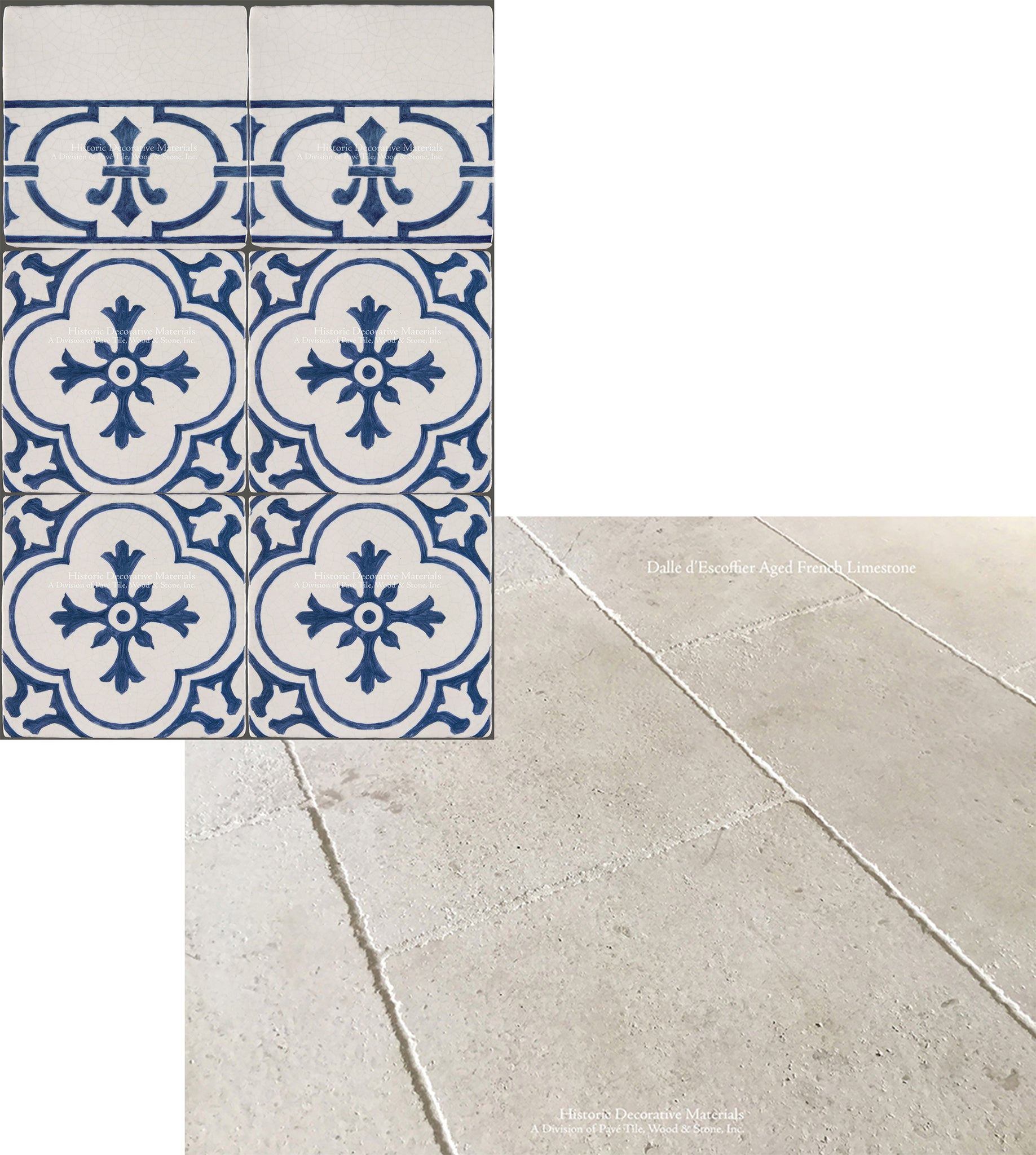 French Limestone Flooring and Decorative Blue and White Kitchen Wall Tiles