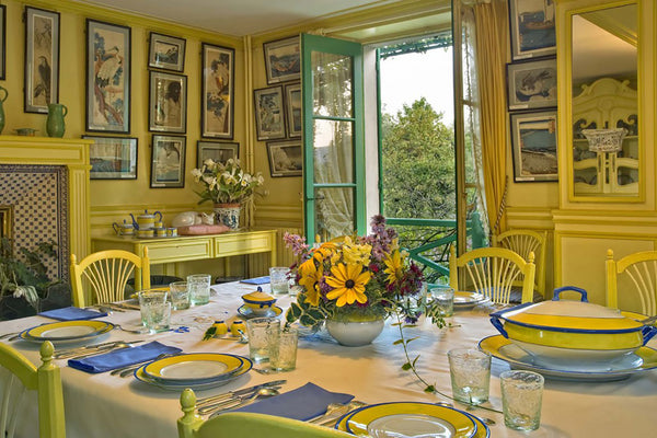 Monet's yellow dining room in his home in Giverny, France