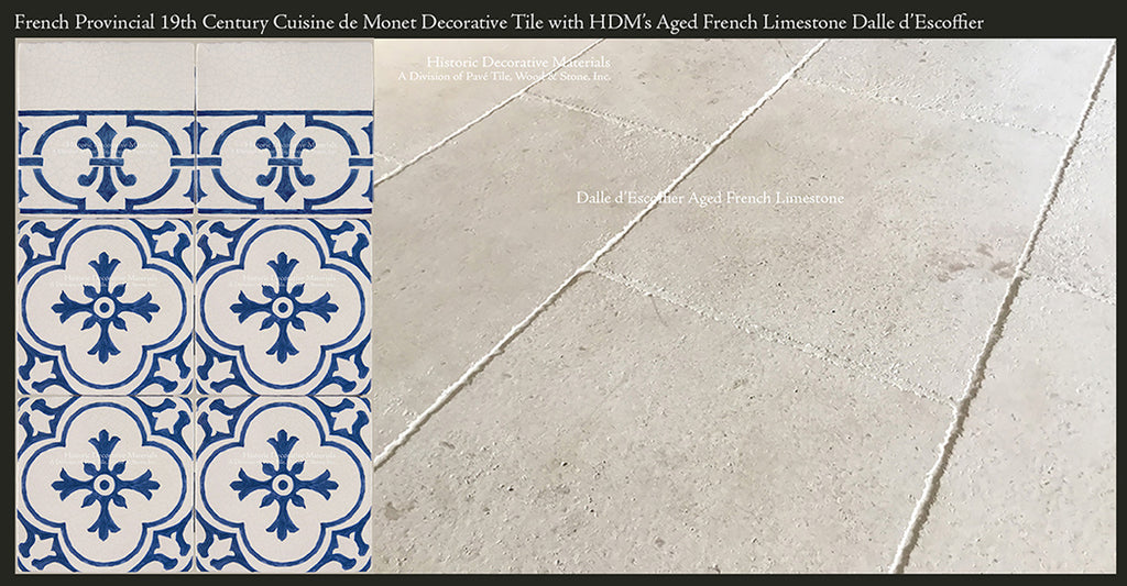 Aged French Limestone Tiles and Decorative Wall Tiles