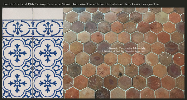 Cuisine de Monet Blue and White Decorative Wall Tile and French Reclaimed Terra Cotta Tile Hexagons