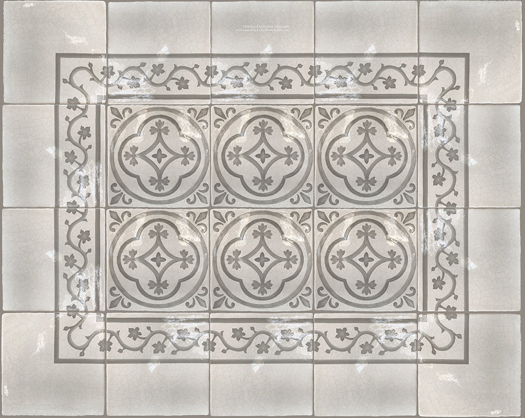 Historic Decorative Patterned Wall Tile for kitchen back splash, powder room, bathroom wall tiles, fireplace surround that interior designers choose for luxury, farmhouse and old world interiors.