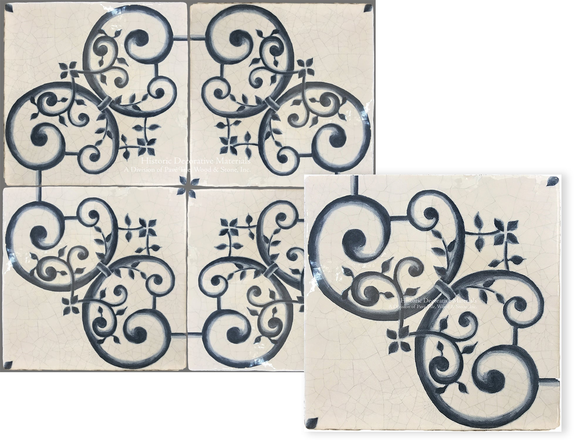 Historic Decorative Hand Painted Wall Tile that is blue and white decorative wall tile for kitchen backsplash, fireplace surround and bathroom walls for interior designs that love old world, farmhouse and luxury interiors