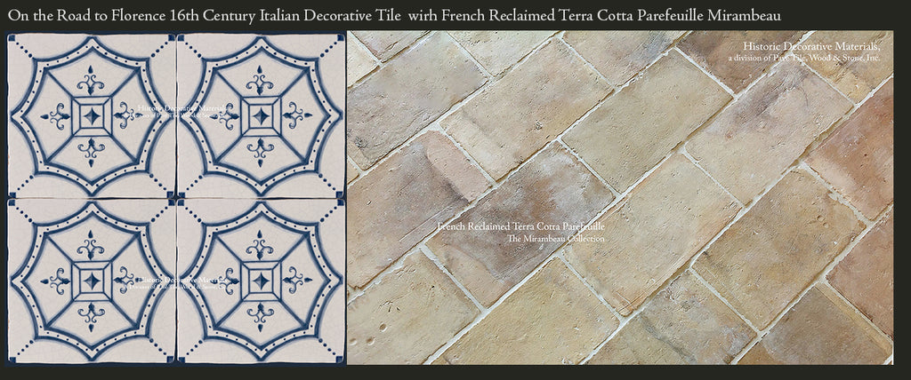 French reclaimed Terra Cotta tiles with Vintage Decorative Wall Tile for Kitchen Backsplash
