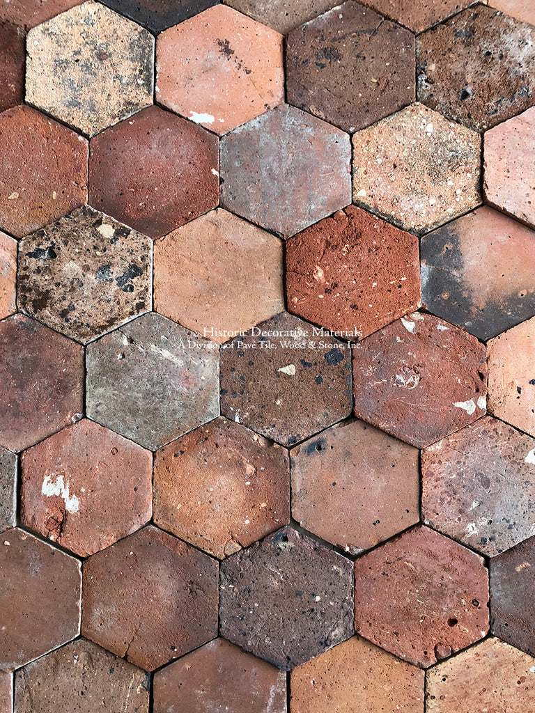 French Reclaimed Terra Cotta Tile Hexagons