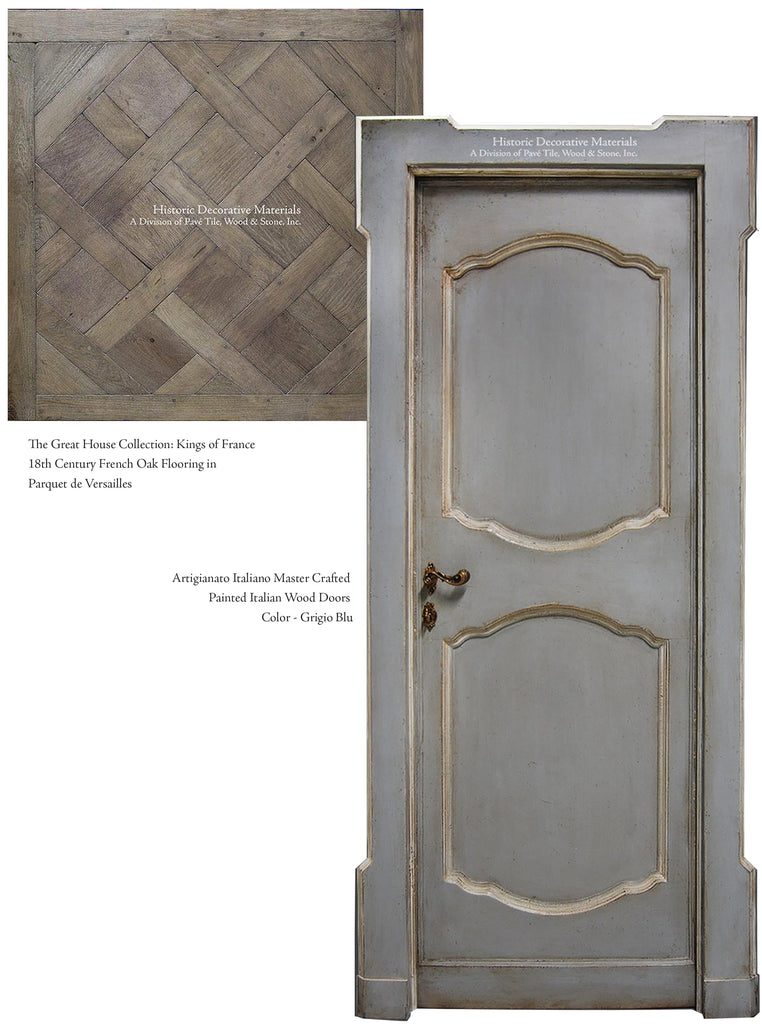 Hand Painted Italian Wood Doors French Oak Parquet de Versailles Floors