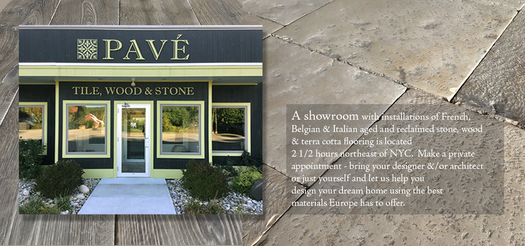 Pave Tile, Wood & Stone Inc. Showroom of French Oak Flooring, French Limestone Flooring, Belgian Bluestone Flooring and Delft Tile