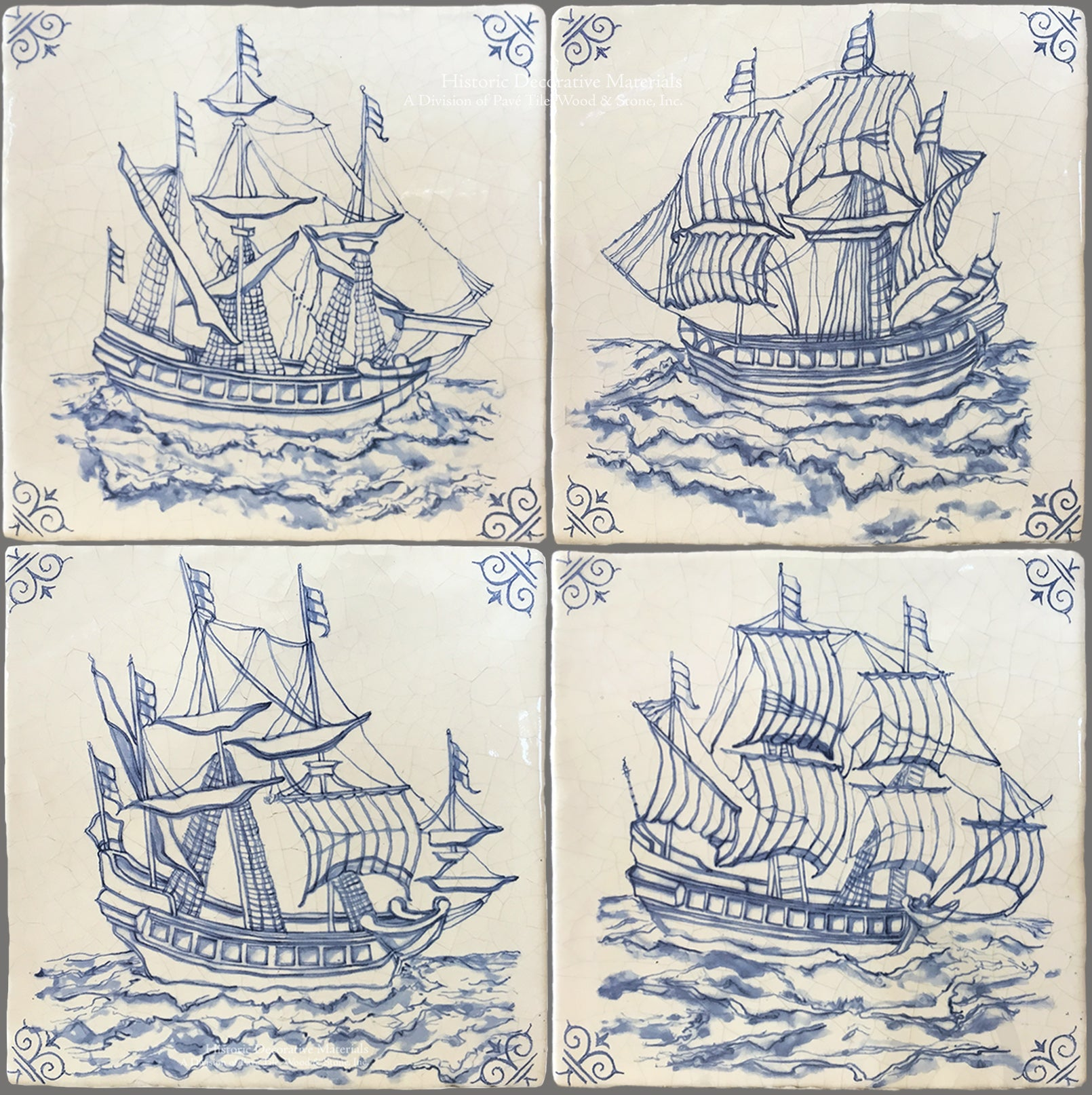 Dutch blue antique hand painted Delft Tile Ships are for the kitchen backsplash, fireplace surround and bathrooms that interior designers choose for historic, old world interior designs