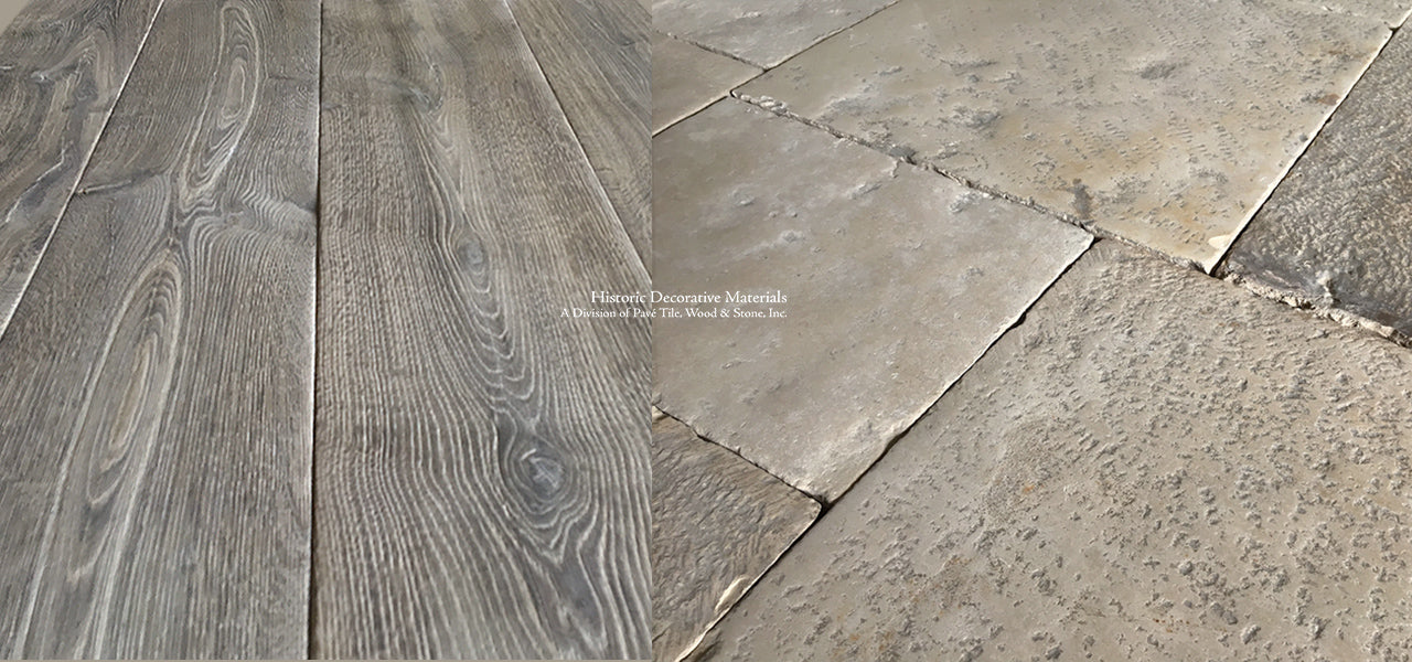 Vecchia Roma 18th Century Italian Reclaimed Limestone Flooring and French Oak Flooring