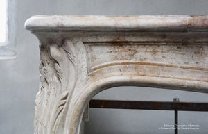 19th Century French Marble Pierre de Bourgogne Louis XV Fireplace Mantel