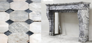 19th Century French Marble Louis XVI Style Fireplace Mantel + 18th century reclaimed Italian Bianco Carrara and Nero Cabochon Marble Flooring.